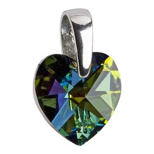 Stříbrný přívěšek srdce z dílny Crystals from Swarovski®, Vitrail Dark 10x10 mm