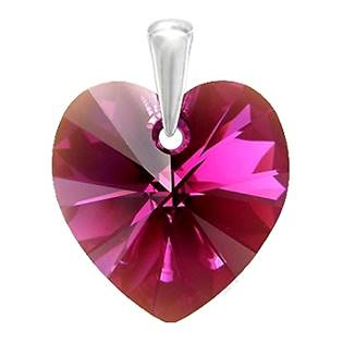 Stříbrný přívěšek srdce z dílny Crystals from Swarovski®, Fuchsia 10 mm