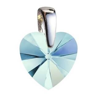 Stříbrný přívěšek srdce z dílny Crystals from Swarovski®, Aqua 10x10 mm