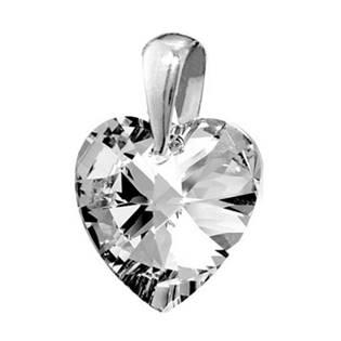 Stříbrný přívěšek srdce z dílny Crystals from Swarovski®, Crystal 14 mm