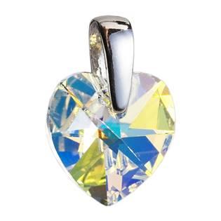 Stříbrný přívěšek srdce z dílny Crystals from Swarovski®, Crystal AB 10x10 mm