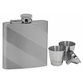 Ocelová kapesní lahev - placatka 180ml + 2 kalíšky 30ml a trychtýřek 97051