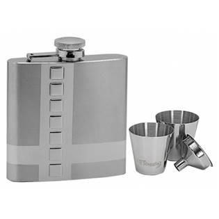 Ocelová kapesní lahev - placatka 180ml + 2 kalíšky 30ml a trychtýřek 97058