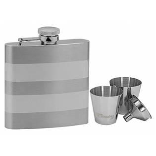 Ocelová kapesní lahev - placatka 180ml + 2 kalíšky 30ml a trychtýřek 97050