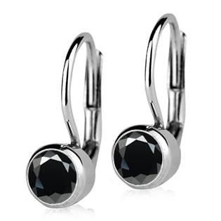 Stříbrné náušnice s černými kameny 5 mm