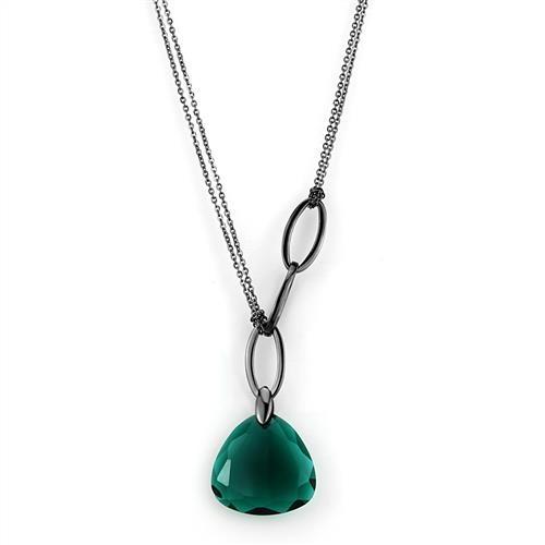 Dámsky oceľový náhrdelník - zelený kameň