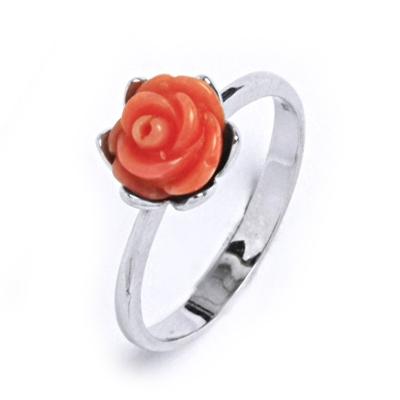 Strieborný prsteň - ruža prírodný koral