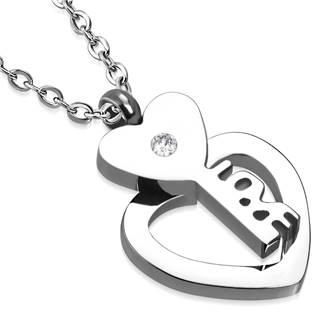 Šperky4U Ocelový řetízek se srdíčkem a klíčkem - OPE1063