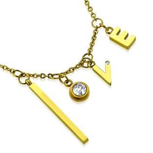 Zlacený ocelový řetízek s písmeny LOVE