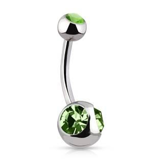 Piercing do pupíku - zelené zirkony