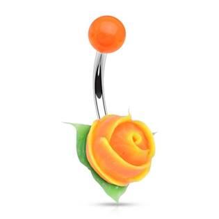 Piercing do pupíku silikonová růžička, oranžová