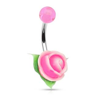 Piercing do pupíku silikonová růžička, bílá