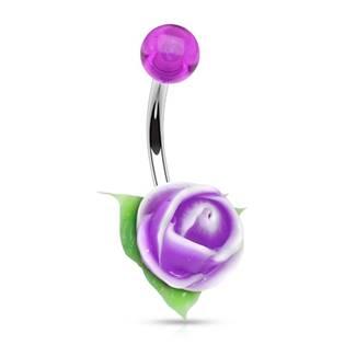 Piercing do pupíku silikonová růžička, fialová