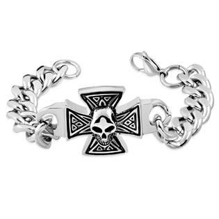 Pánský ocelový náramek - kříž s lebkou