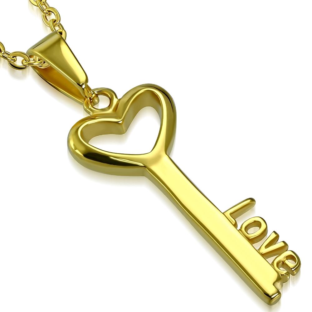 Oceľový prívesok pozlátený - kľúč