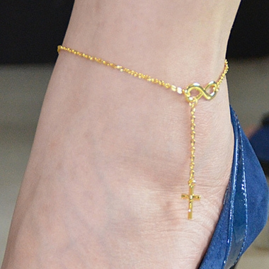 Zlacený řetízek na nohu - nekonečno a křížek