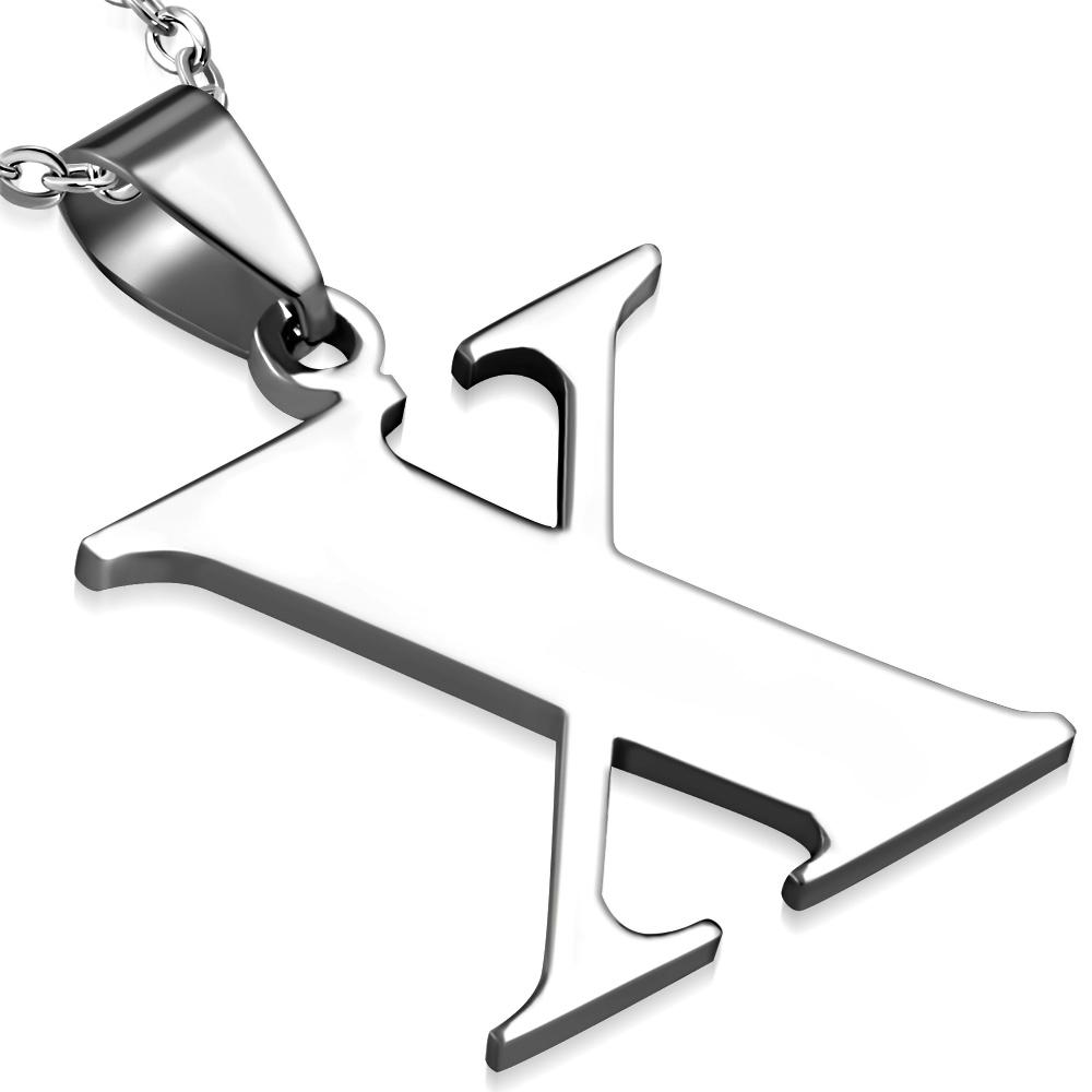 Ocelový přívěšek - písmeno - iniciála X