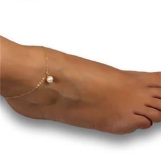 Zlacený náramek na nohu s perličkou