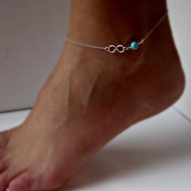 Postriebrená retiazka na nohu - nekonečno