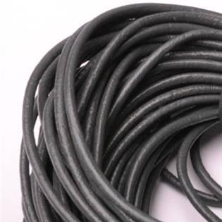 Kožená šňůrka kulatá tmavě šedá, tl. 2 mm
