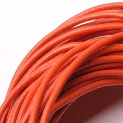Kožená šnúrka guľatá tmavo oranžová, hr. 2 mm