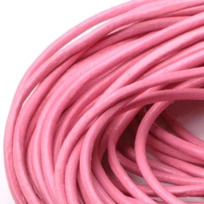 Kožená šňůrka kulatá sytě růžová, tl. 2 mm