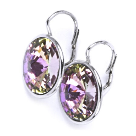 Stříbrné náušnice s kameny Crystals from SWAROVSKI®, barva: VITRAIL LIGHT CS5503