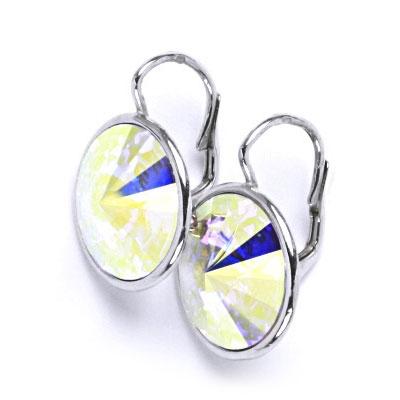 Stříbrné náušnice s kameny Crystals from SWAROVSKI®, barva: CRYSTAL AB CS5504