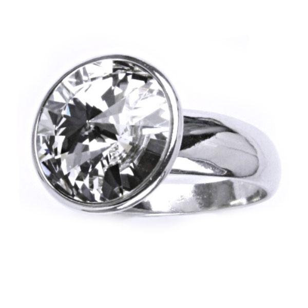 Strieborný prsteň s kameňom Crystals from SWAROVSKI®, farba: CRYSTAL