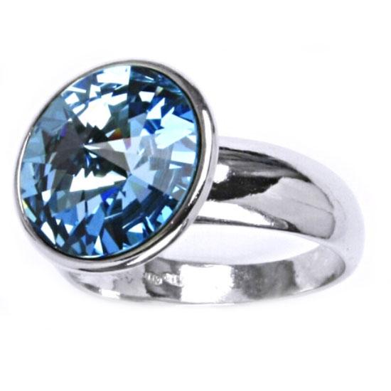 Strieborný prsteň s kameňom Crystals from SWAROVSKI®, farba: AQUAMARINE