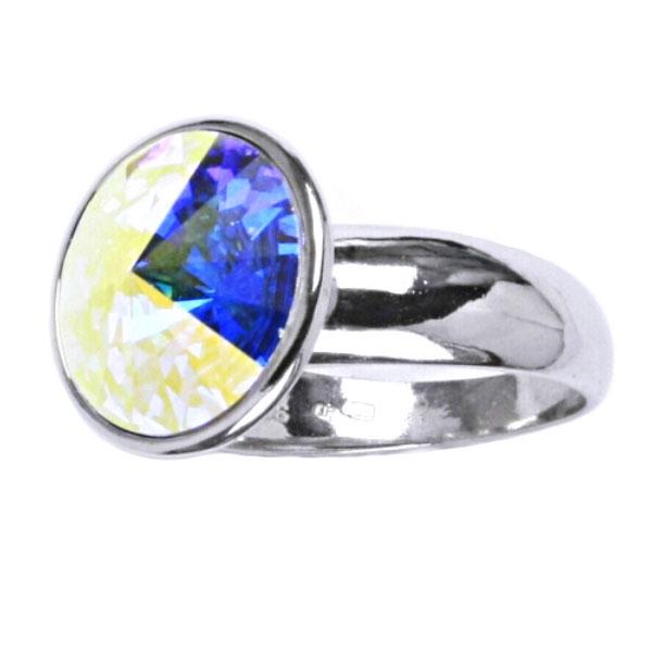 Strieborný prsteň s kameňom Crystals from SWAROVSKI®, farba: CRYSTAL AB