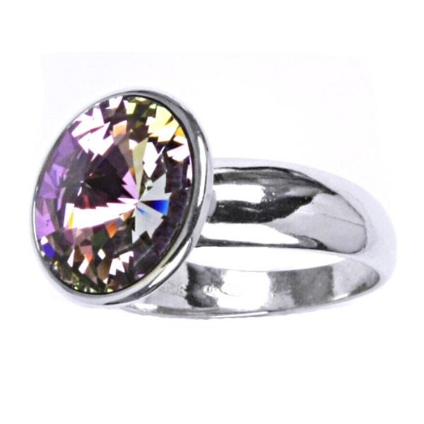 Strieborný prsteň s kameňom Crystals from SWAROVSKI®, farba: Light Vitrail