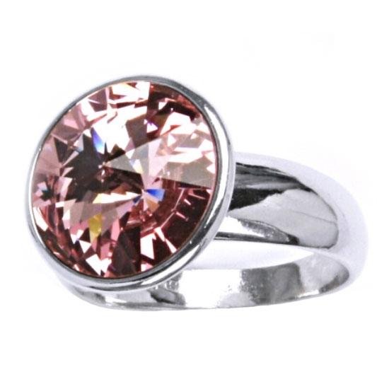 Strieborný prsteň s kameňom Crystals from SWAROVSKI®, farba: ROSE