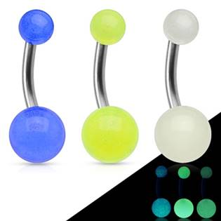 Fosforeskující piercing do pupíku - TITAN