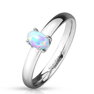 Ocelový prsten s oválným opálem