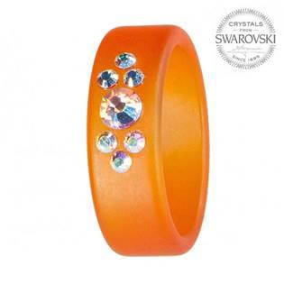 Prsten s krystaly Swarovski®, ORANGE, vel. 56
