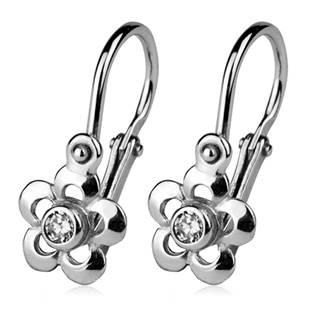 Šperky4U Stříbrné dětské náušnice - kytičky, čiré zirkony - CS1230