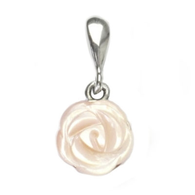 Stříbrný přívěšek - růže přírodní perleť