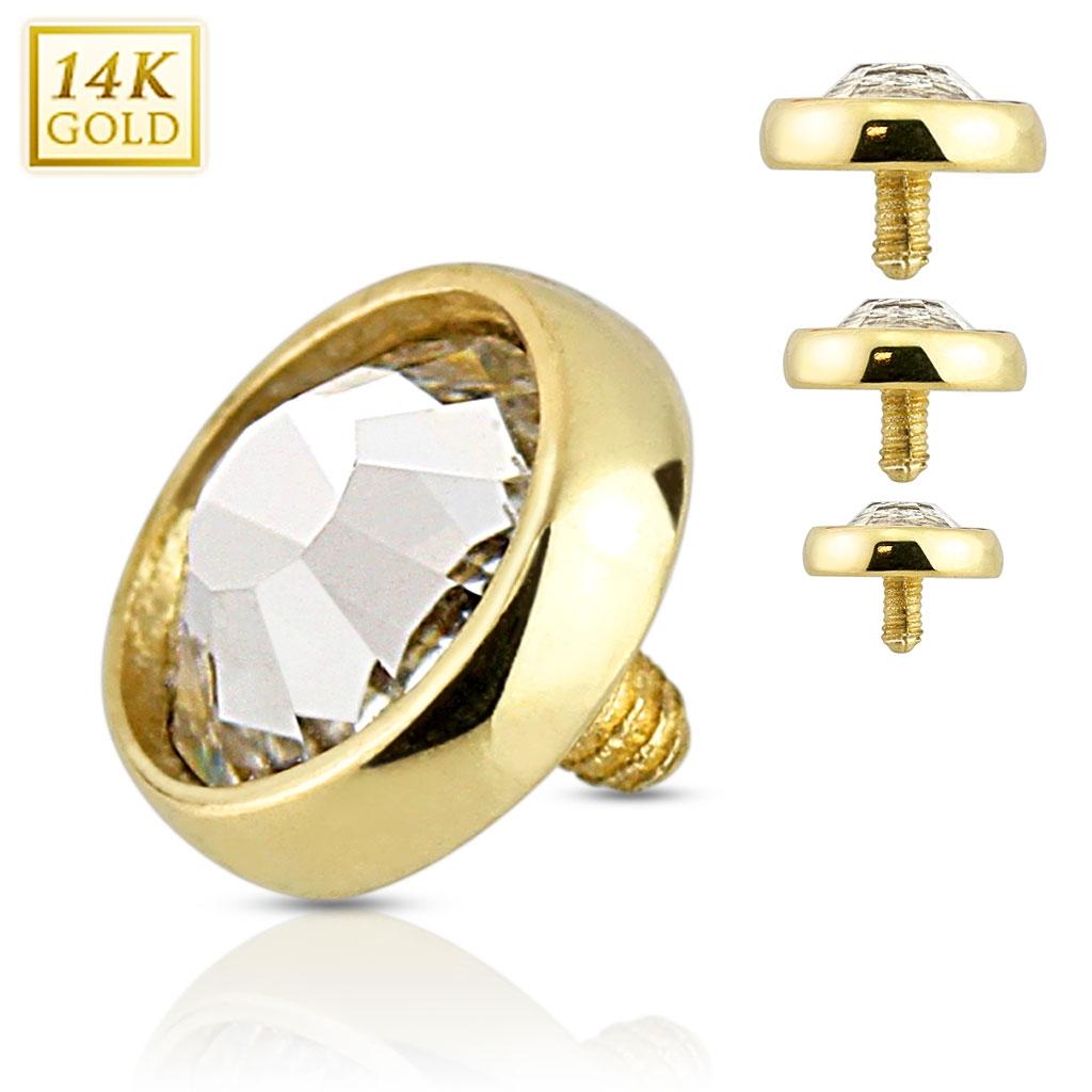 Zlatý piercing - dermál zirkon, Au 585/1000 ZL01038-04-YG