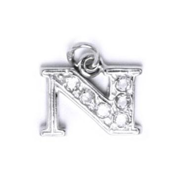 Strieborný prívesok písmeno sa zirkónmi - iniciálka N