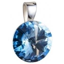 Stříbrný přívěšek rivoli Crystals from Swarovski® Aqua 12 mm