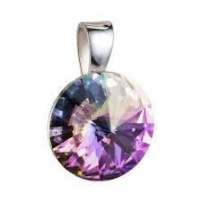 Stříbrný přívěšek rivoli Crystals from Swarovski® Vitrail Light 12 mm