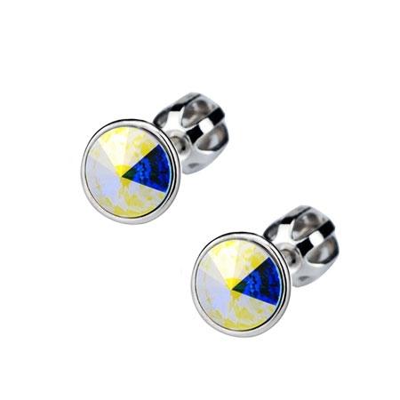 Skrutkovacie strieborné náušnice s kameňmi Crystals from SWAROVSKI®, farba: Crystal AB