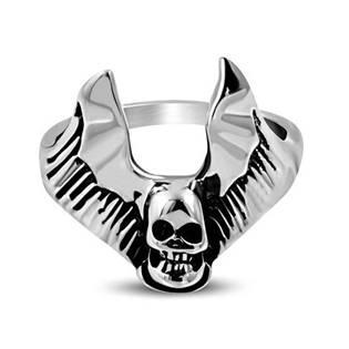 Ocelový prsten - okřídlená lebka OPR1289