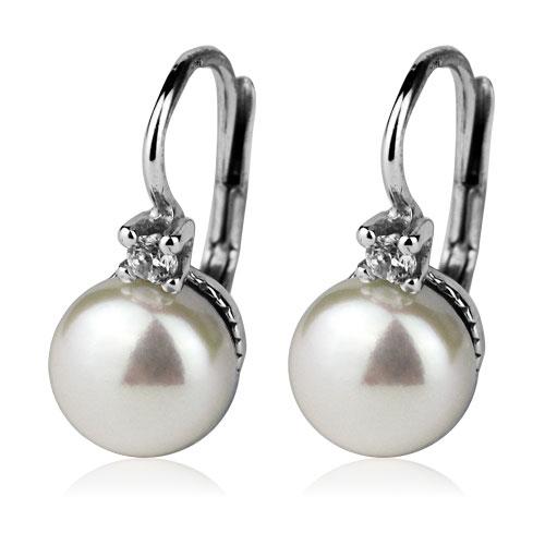Stříbrné náušnice přírodní perly 8 mm CS5100