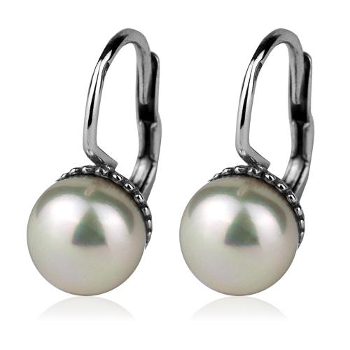 Stříbrné náušnice přírodní perly 7,5 mm CS5111