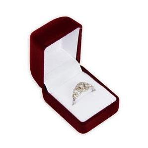 Bordó semišová darčeková krabička na prsteň