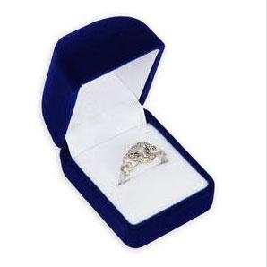 Modrá semišová darčeková krabička na prsteň