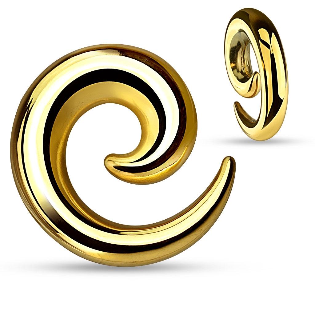 Oceľový expander do ucha - špirála zlatá