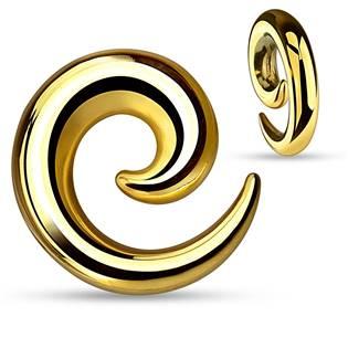 Ocelový roztahovák do ucha - spirála zlatá